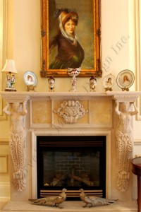 custom limestone fireplace mantel