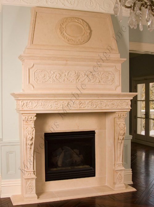 custom marble mantel