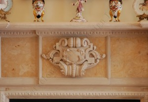 cast limestone fireplace mantel