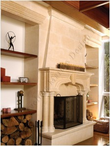 indiana limestone fireplace mantel